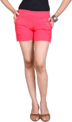 Ruok Embroidered Women's Red Hotpants