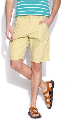 Pepe Jeans Solid Mens Beige Basic Shorts