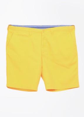 John Players Solid Men's Yellow Basic Shorts