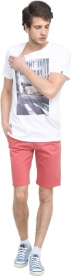 Colors Couture Solid Men's Red Chino Shorts