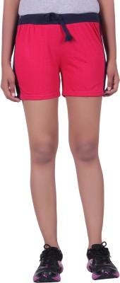 DFH Solid Women's Pink Basic Shorts, Beach Shorts, Gym Shorts, Night Shorts, Running Shorts, Sports Shorts