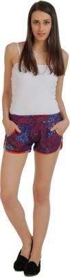 Holidae Printed Women's Blue, Red Basic Shorts