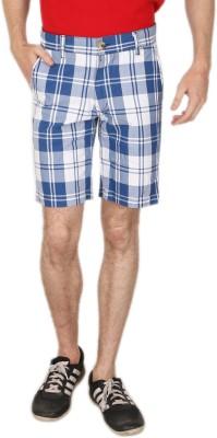 Blimey Checkered Men's Blue, White Chino Shorts