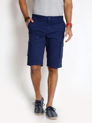 Rodid Solid Men's Dark Blue Cargo Shorts