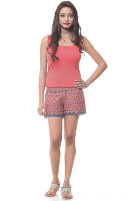 Lyla Embroidered Women's Blue, Orange Basic Shorts