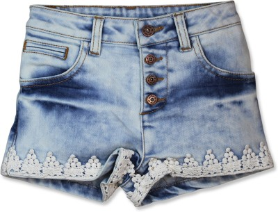 FS Mini Klub Printed Girl's Blue Denim Shorts
