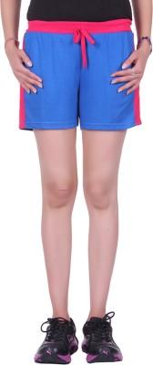 DFH Solid Women's Light Blue Sports Shorts, Gym Shorts, Night Shorts