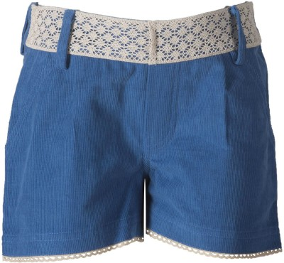 Naughty Ninos Solid Girl's Blue Basic Shorts