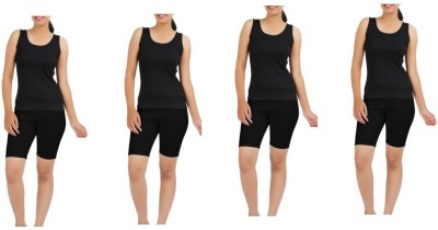 Kidley Solid Women's Black Cycling Shorts