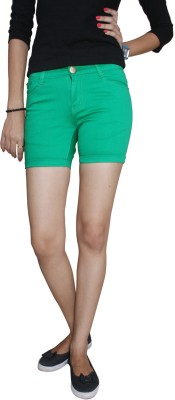 Fungus Solid Women's Green Denim Shorts