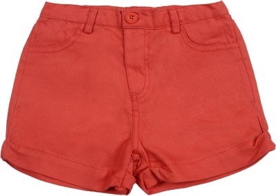 Addyvero Solid Girl's Red Chino Shorts