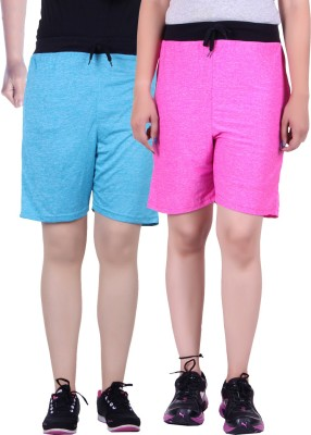 Gag Wear Solid Women's Pink, Light Blue Basic Shorts at flipkart