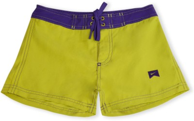 Nike Solid Girl's Green, Purple Basic Shorts