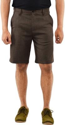 Blue Wave Solid Men's Brown Basic Shorts
