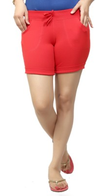 By The Way Solid Women's Red Basic Shorts, Beach Shorts, Cycling Shorts, Night Shorts
