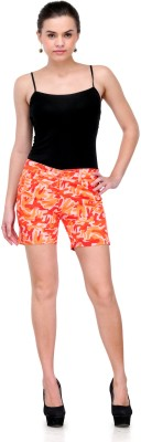 Fashion Cult Printed Women's Orange Hotpants