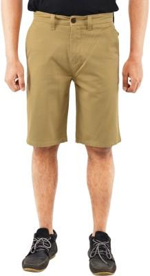 Blue Wave Solid Men's Beige Basic Shorts