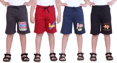 Dongli Printed Boy's Brown, Red, Dark Blue, Black Sports Shorts