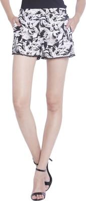 Globus Floral Print Women's Black Basic Shorts
