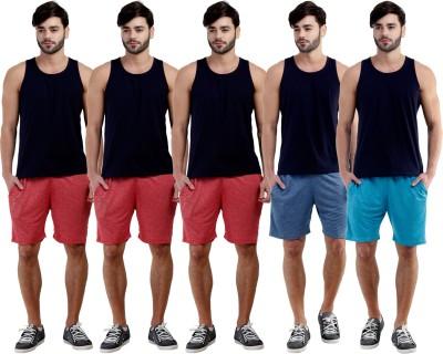 Dee Mannequin Self Design Men's Red, Red, Red, Dark Blue, Blue Sports Shorts