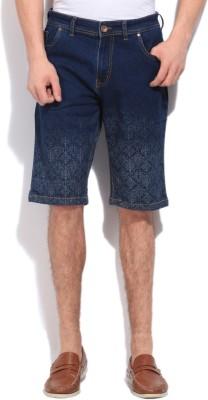 High Star Printed Men's Blue Denim Shorts