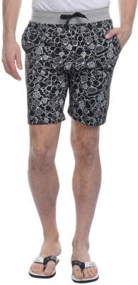 FREE RUNNER Printed Men's Black Beach Shorts