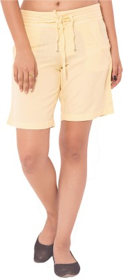 Goodwill Impex Solid Women's Yellow Chino Shorts