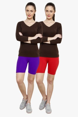 Softrose Solid Women's Purple, Red Cycling Shorts
