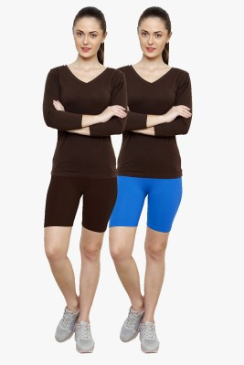 Softrose Solid Women's Brown, Light Blue Cycling Shorts