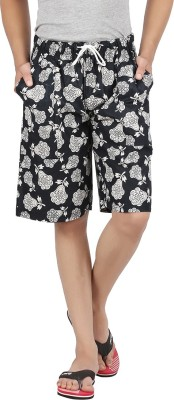 M Tex Floral Print Men's Black Basic Shorts