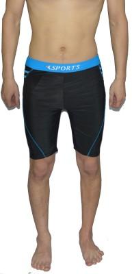 Tab Solid Mens Black Swim Shorts