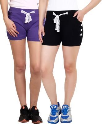 Yogaandsportswear Solid Women's Purple, Black Basic Shorts