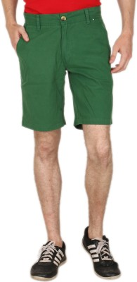 Blimey Solid Men's Green Chino Shorts