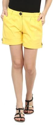 Martini Solid Women's Yellow Basic Shorts