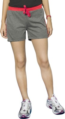 DFH Solid Women's Grey, Red Sports Shorts, Beach Shorts, Gym Shorts, Running Shorts, Basic Shorts, Night Shorts
