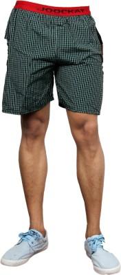 UNO COTTON Checkered Men's Dark Green Night Shorts
