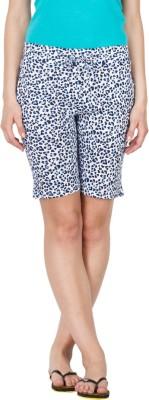 Lovable Printed Women's Blue, White Basic Shorts