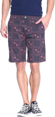 Blue Wave Printed Men's Black Basic Shorts