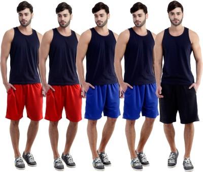 Dee Mannequin Self Design Men's Red, Red, Blue, Blue, Black Sports Shorts