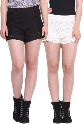 Rena Love Embroidered Women's Black, Beige Basic Shorts