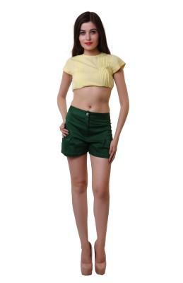 Belle Fille Solid Women,s Green Basic Shorts