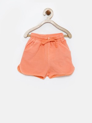 Yk Solid Baby Girl's Orange Basic Shorts