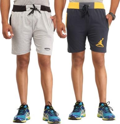 Male Basics Solid Men's Black, Grey Bermuda Shorts