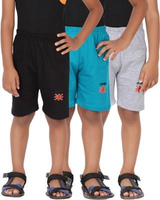 Graceful Solid Boy's Black, Green, Grey Basic Shorts