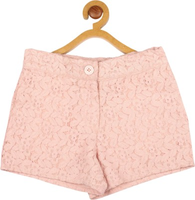 My Lil,Berry Solid Girl's Pink Basic Shorts