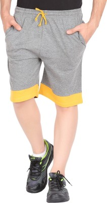 Checker S Bay Solid Men's Grey, Yellow Sports Shorts
