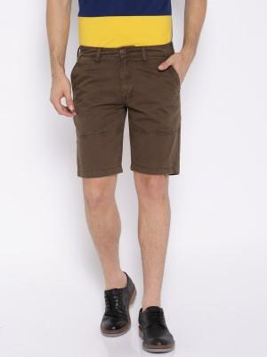 Harvard Solid Men's Brown Basic Shorts