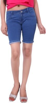 Airways Solid Women's Light Blue Denim Shorts