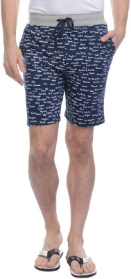FREE RUNNER Printed Men's Dark Blue Beach Shorts