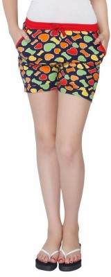 Red Ring Solid Women's Multicolor Night Shorts